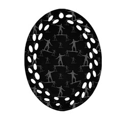 Surfing Motif Pattern Oval Filigree Ornament (2 Side)  by dflcprints