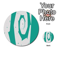 Aqua Blue And White Swirl Design Multi Purpose Cards (round)  by digitaldivadesigns