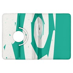 Aqua Blue and White Swirl Design Kindle Fire HDX Flip 360 Case by theunrulyartist