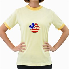 Usa Flag Paw Women s Fitted Ringer T-Shirts by TailWags