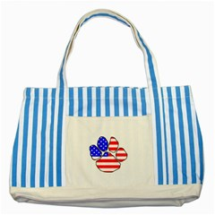Usa Flag Paw Striped Blue Tote Bag by TailWags