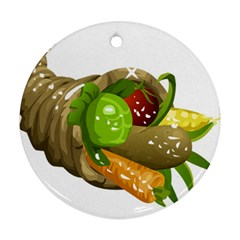 Cornucopia 2 Round Ornament (two Sides)  by TailWags
