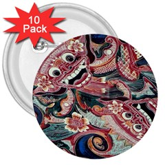 Indonesia Bali Batik Fabric 3  Buttons (10 pack)  by Zeze