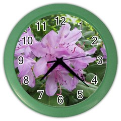 Purple Rhododendron Flower Color Wall Clocks by picsaspassion