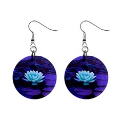 Lotus Flower Magical Colors Purple Blue Turquoise Mini Button Earrings by yoursparklingshop