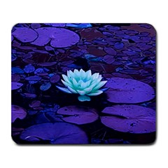 Lotus Flower Magical Colors Purple Blue Turquoise Large Mousepads by yoursparklingshop