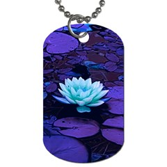 Lotus Flower Magical Colors Purple Blue Turquoise Dog Tag (one Side) by yoursparklingshop