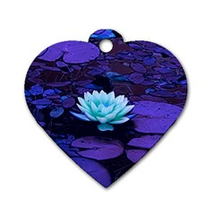 Lotus Flower Magical Colors Purple Blue Turquoise Dog Tag Heart (one Side) by yoursparklingshop
