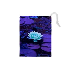 Lotus Flower Magical Colors Purple Blue Turquoise Drawstring Pouches (small)  by yoursparklingshop