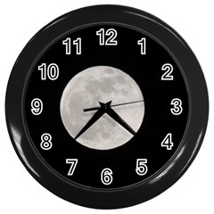 Full Moon At Night Wall Clocks (black) by picsaspassion