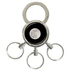 Full Moon At Night 3 Ring Key Chains by picsaspassion
