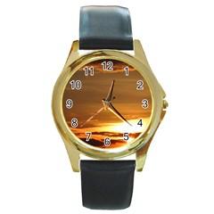 Summer Sunset Round Gold Metal Watch by picsaspassion