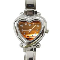Summer Sunset Heart Italian Charm Watch by picsaspassion