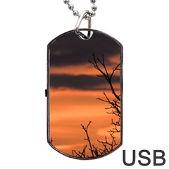 Tree Branches And Sunset Dog Tag Usb Flash (one Side) by picsaspassion