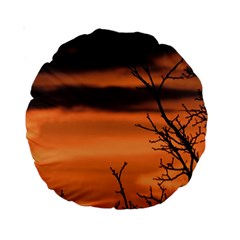 Tree Branches And Sunset Standard 15  Premium Round Cushions by picsaspassion