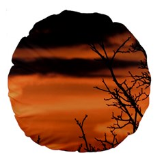 Tree Branches And Sunset Large 18  Premium Round Cushions by picsaspassion