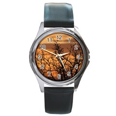 Colorful Sunset Round Metal Watch by picsaspassion