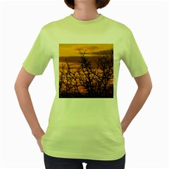 Colorful Sunset Women s Green T Shirt by picsaspassion