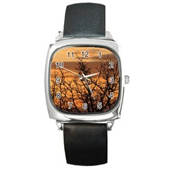 Colorful Sunset Square Metal Watch by picsaspassion