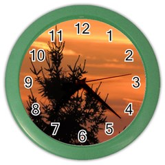Christmas Tree And Sunset Color Wall Clocks by picsaspassion