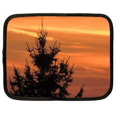 Christmas Tree And Sunset Netbook Case (xl)  by picsaspassion