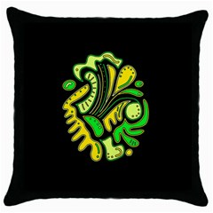 Yellow And Green Spot Throw Pillow Case (black) by Valentinaart
