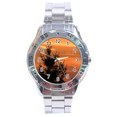Christmas Tree And Sunset Stainless Steel Analogue Watch by picsaspassion
