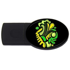 Yellow And Green Spot Usb Flash Drive Oval (2 Gb)  by Valentinaart