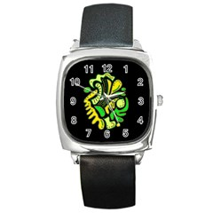 Yellow And Green Spot Square Metal Watch by Valentinaart