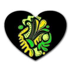 Yellow And Green Spot Heart Mousepads by Valentinaart