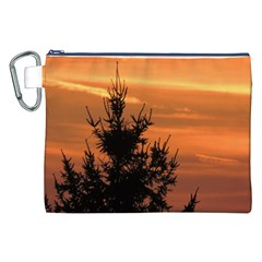 Christmas Tree And Sunset Canvas Cosmetic Bag (xxl) by picsaspassion