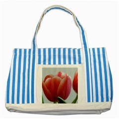 Red   White Tulip Flower Striped Blue Tote Bag by picsaspassion