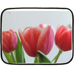 Red Tulips Double Sided Fleece Blanket (mini)  by picsaspassion