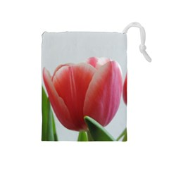 Red Tulips Drawstring Pouches (medium)  by picsaspassion