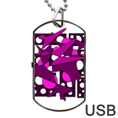 Something Purple Dog Tag Usb Flash (one Side) by Valentinaart
