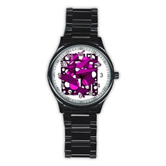 Something Purple Stainless Steel Round Watch by Valentinaart