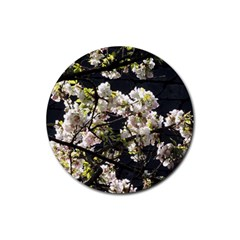Blooming Japanese Cherry Flowers Rubber Round Coaster (4 Pack)