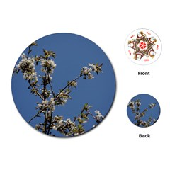 White Cherry Flowers And Blue Sky Playing Cards (round)  by picsaspassion