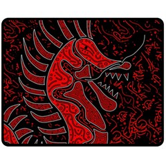 Red Dragon Double Sided Fleece Blanket (medium)  by Valentinaart