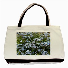 Little Blue Forget Me Not Flowers Basic Tote Bag (two Sides) by picsaspassion