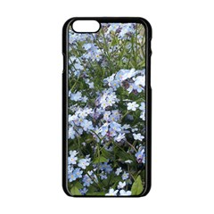 Little Blue Forget Me Not Flowers Apple Iphone 6/6s Black Enamel Case by picsaspassion