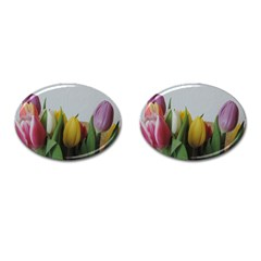 Colorful Bouquet Tulips Cufflinks (oval) by picsaspassion