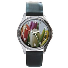 Colored By Tulips Round Metal Watch by picsaspassion