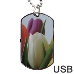 Colored By Tulips Dog Tag Usb Flash (one Side) by picsaspassion