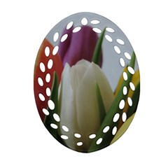 Colored By Tulips Ornament (oval Filigree)  by picsaspassion