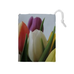 Colored By Tulips Drawstring Pouches (medium)  by picsaspassion