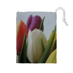 Colored By Tulips Drawstring Pouches (large)  by picsaspassion