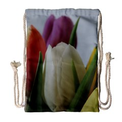 Colored By Tulips Drawstring Bag (large) by picsaspassion