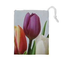 Tulip Spring Flowers Drawstring Pouches (large)