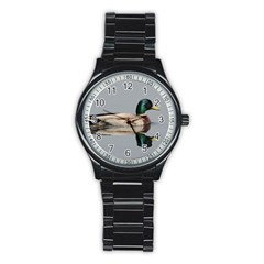 Wild Duck Swimming In Lake Stainless Steel Round Watch by picsaspassion